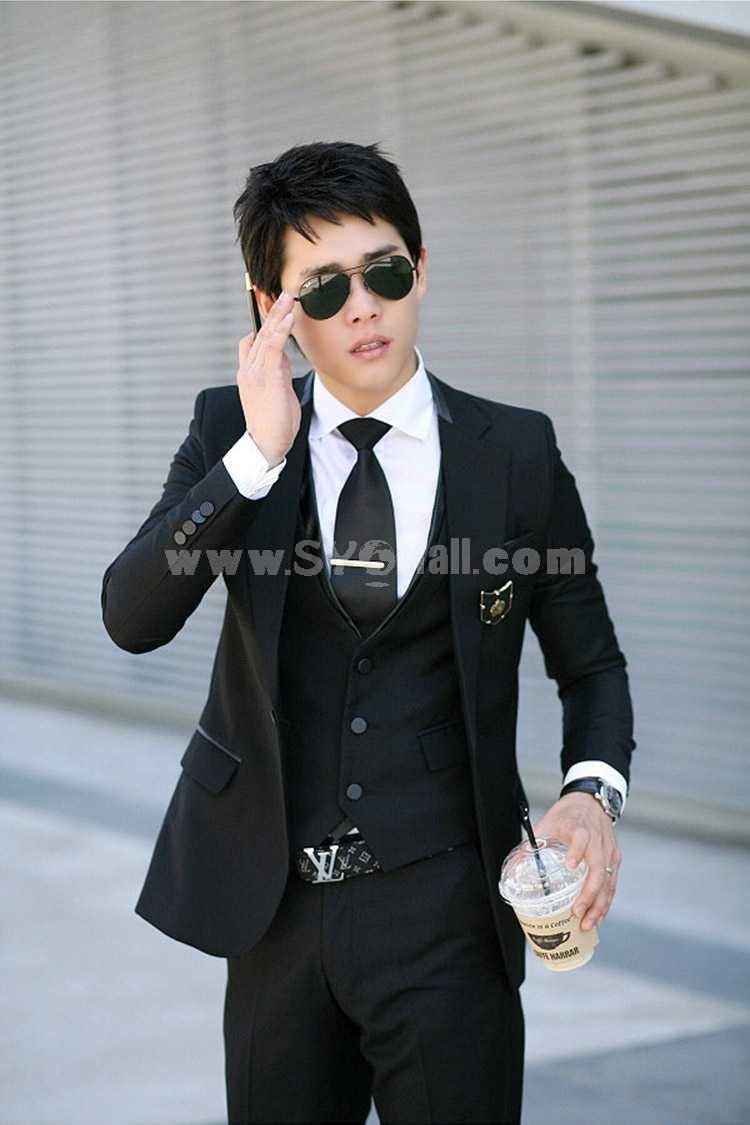 Luxury Slim Casual Black Vest (11-1807-X003)