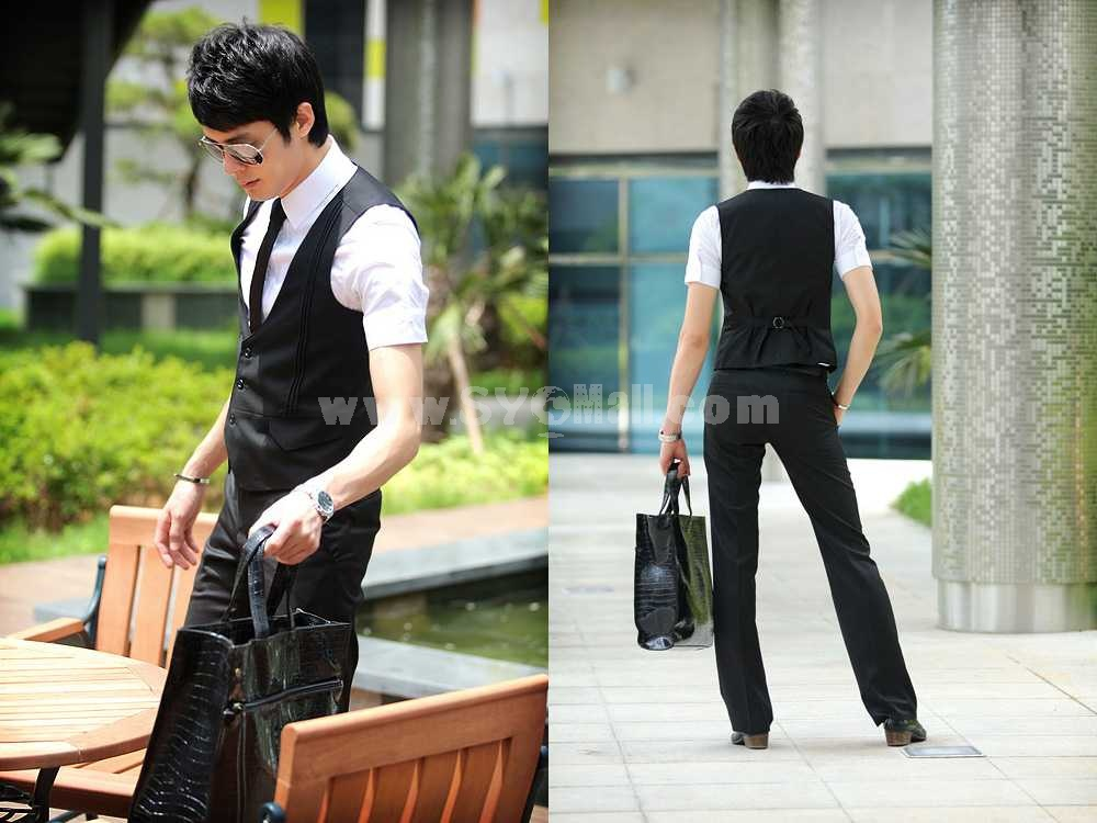 Slim Design Pure Color Vest with Faux Pockets (413-M02)