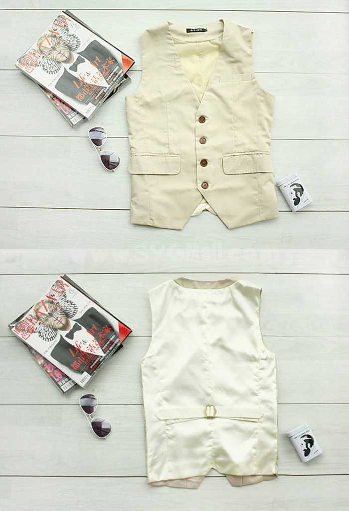 Gentlemen Style Pure Color Slim Vest (1104-X02)