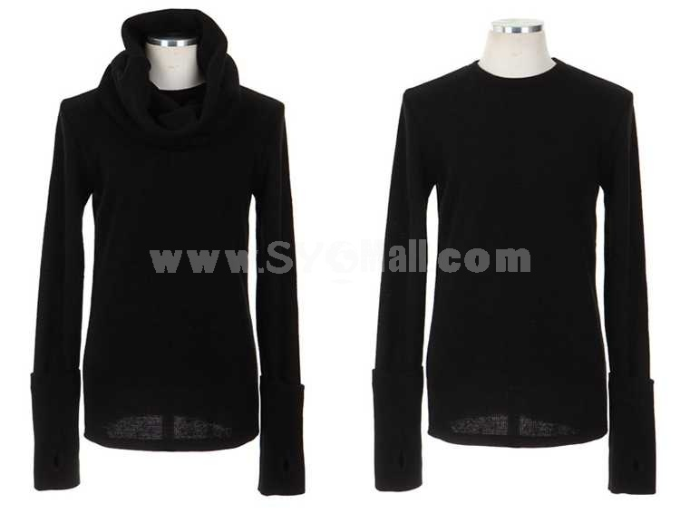 Fashionable Turtle-Neck  Slim Style Pure Color Knitwear (1015-T308)