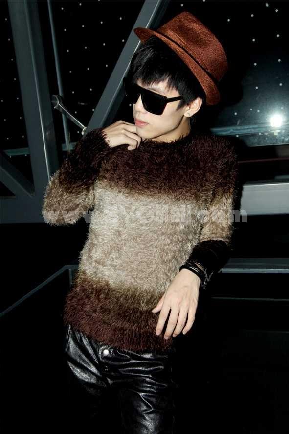 Fashionable Bicolor Trendy Round-Neck Knitwear (1005A-Y123)