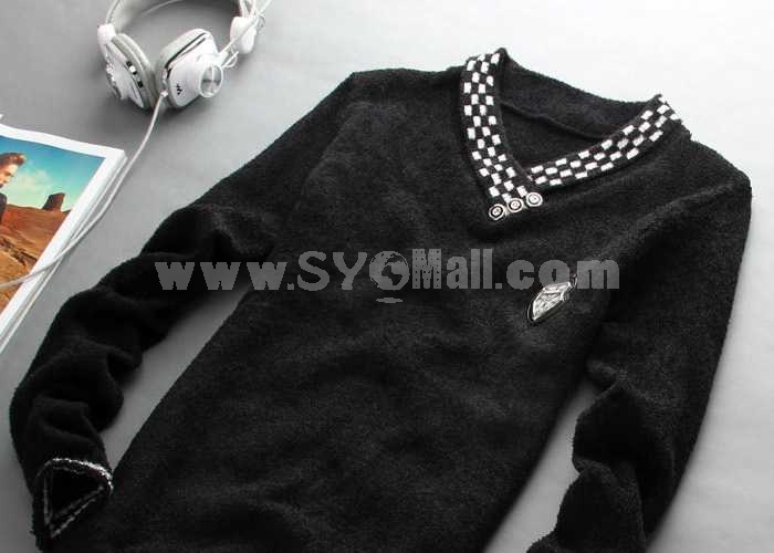 Trendy Casual Pure Color V-Neck Knitwear (1504-DT35)