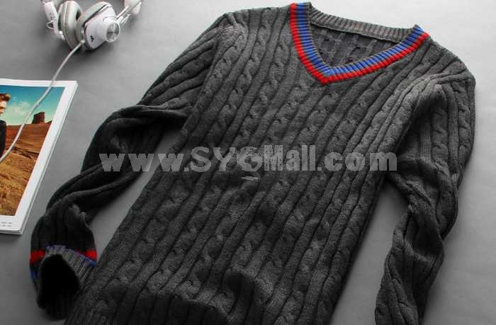 Trendy Casual Distorted Pattern V-Neck Knitwear (1504-DT46)