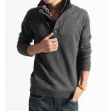 Wholesale - Fashionable Slim Pure Color Stand-Collar Sweater with Faux Underwear (1504-DT87)