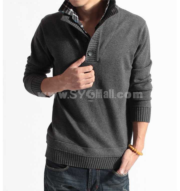 Fashionable Slim Pure Color Stand-Collar Sweater with Faux Underwear (1504-DT87)