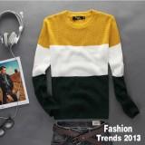 Wholesale - Fashionable Tricolor Stitching Design Slim Knitwear (1504-DT82)
