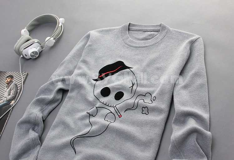 Fashionable Lovely Skull Pattern Round-Neck Long-Sleeved Knitwear (1504-DT96)