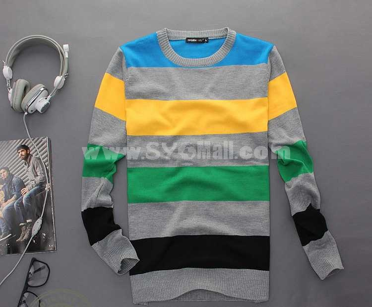 Fashionable Casual Multicolor Stripes Style Long-Sleeved Knitwear (1504-DT93)