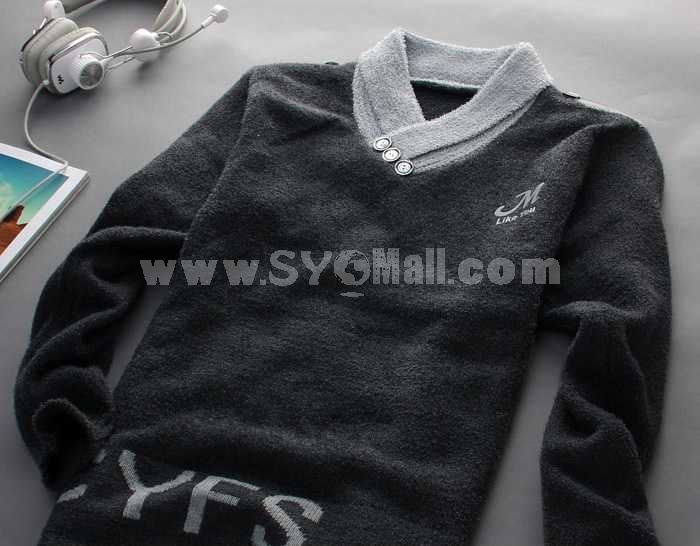 Fashionable Casual Extra-Thick V-Neck Knitwear (1504-DT74)