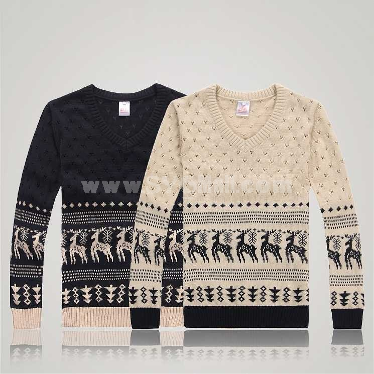Fashionable Hollow Design V-Neck Bottoming Knitwear (303-Y10)
