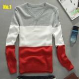 Wholesale - 100% Cotton Fashionable Tricolor Slim V-Neck Knitwear (1612-MD222)