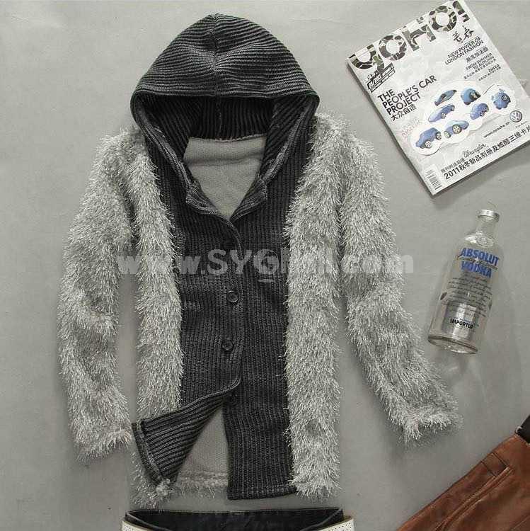 Fashionable Casual Slim Hooded Knitwear (1612-MD216)
