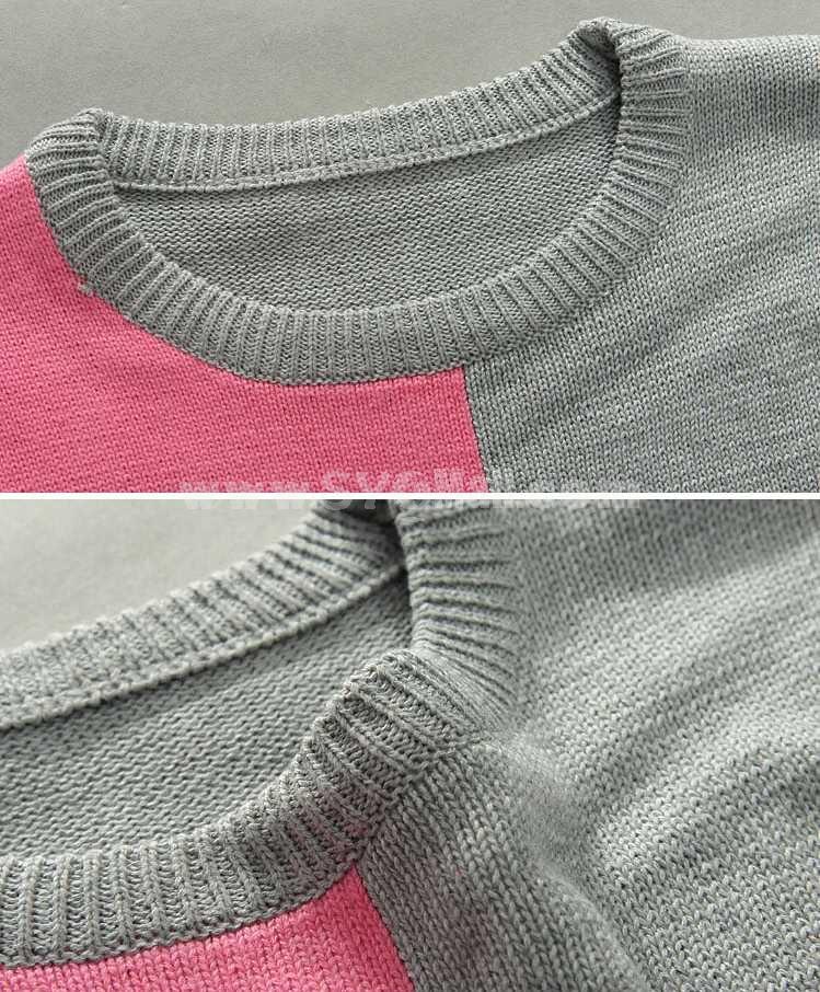 Fashionable Tricolor Stitching Design Slim Round-Neck Knitwear (1612-MD225)