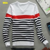 Wholesale - Fashionable Casual Tricolor Stripes Style V-Neck Knitwear (1612-MD228)
