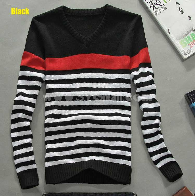 Fashionable Casual Tricolor Stripes Style V-Neck Knitwear (1612-MD228)