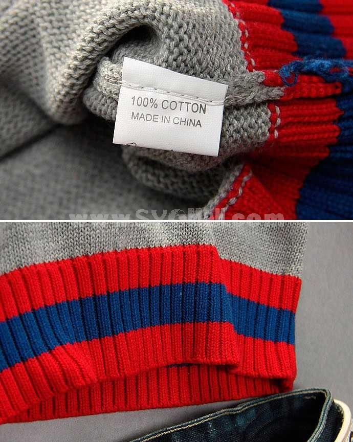 Fashionable Casual Slim V-Neck Knitwear with Stripe Hem/Neckline (1612-MD98)