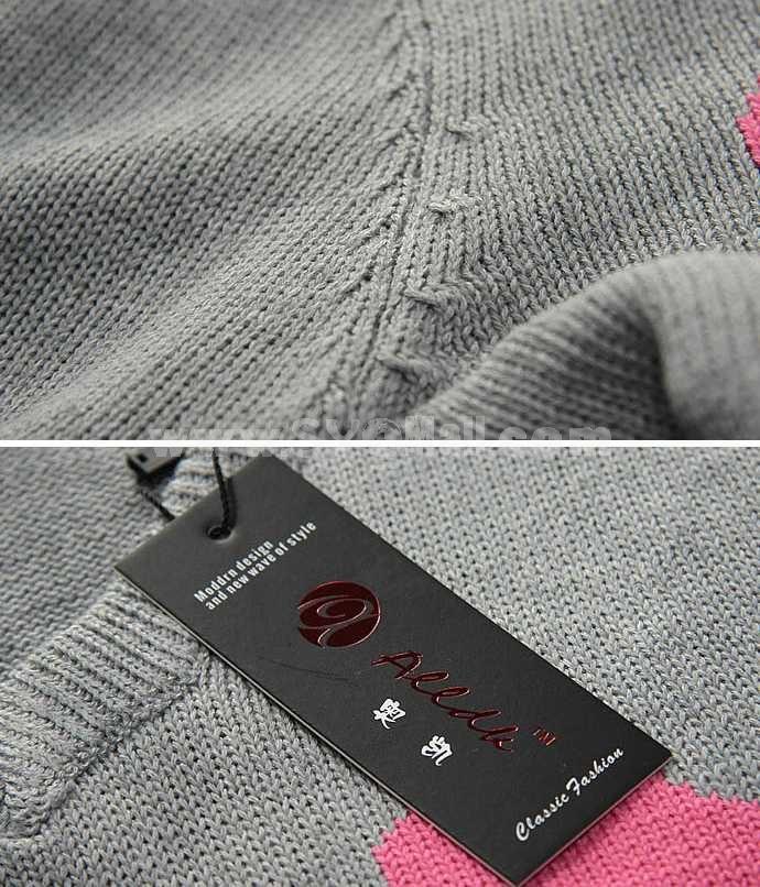 Fashionable Casual Slim Bicolor V-Neck Knitwear (1612-MD119)
