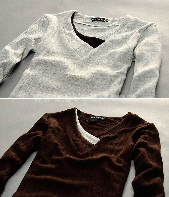 Hot-Selling Individualized Casual Slim V-Neck Bottoming Knitwear (1612-MD116)