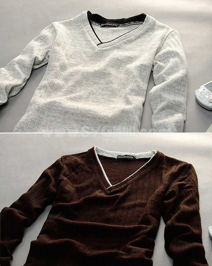Fashionable Casual Slim V-Neck Bottoming Knitwear (1612-MD115)