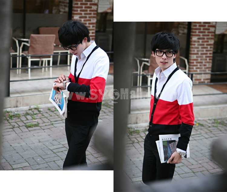Fashionable Casual Tricolor V-Neck Cardigan (1403-YJ327)