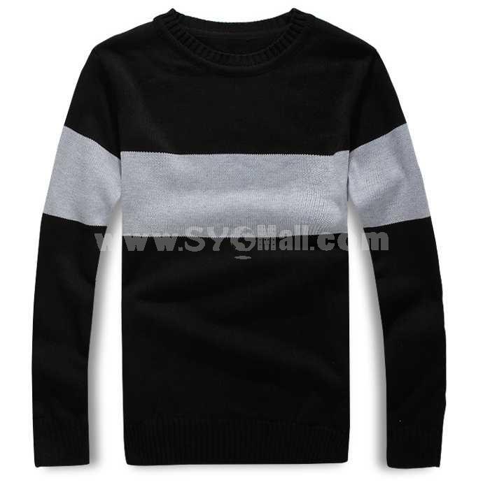 Trendy Casual Bicolor Slim Round-Neck Sweater (1402-H016)