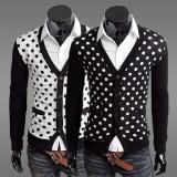 Wholesale - Trendy Dots Style V-Neck Cardigan (1414-8004)