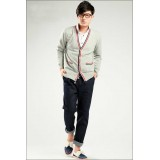 Wholesale - Fashionable Casual Slim Type V-Neck Pure Color Cardigan (702-Y38)