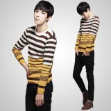 Wholesale - 100% Cotton Fashionable Bicolor Stripes Pattern Round-Neck Sweater (1515-M110)