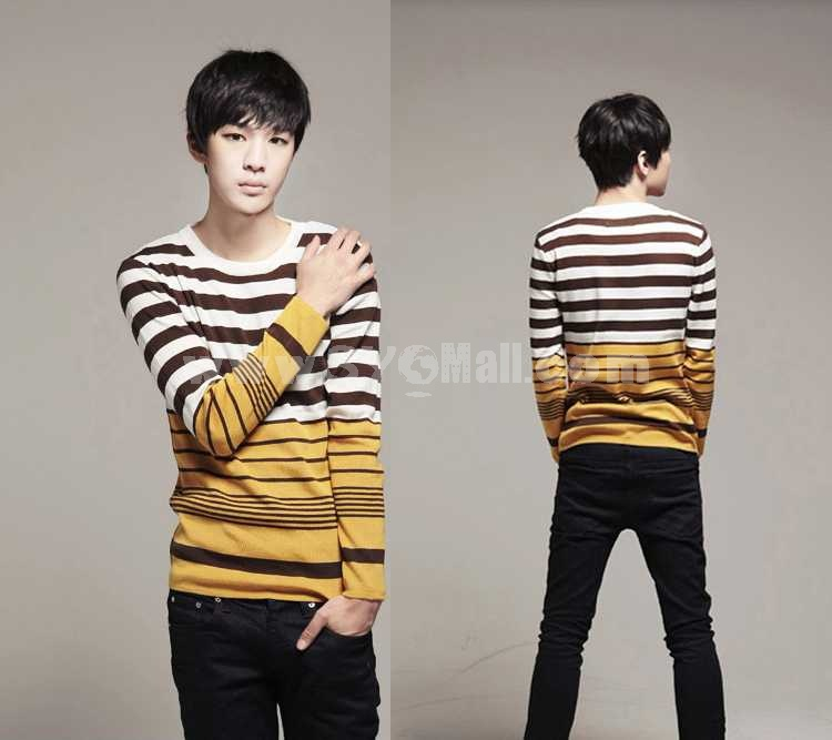 100% Cotton Fashionable Bicolor Stripes Pattern Round-Neck Sweater (1515-M110)