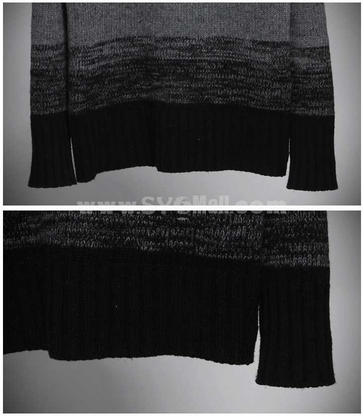 Fashionable Gradual Color Change Extra-Thick Turtle-Neck Bottoming Knitwear (1515-M105)