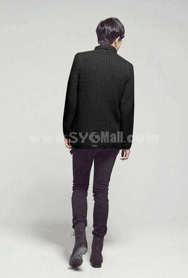 Fashionable Individual Pure Color Hip-Hop Style knitting Cardigan (1515-M518)