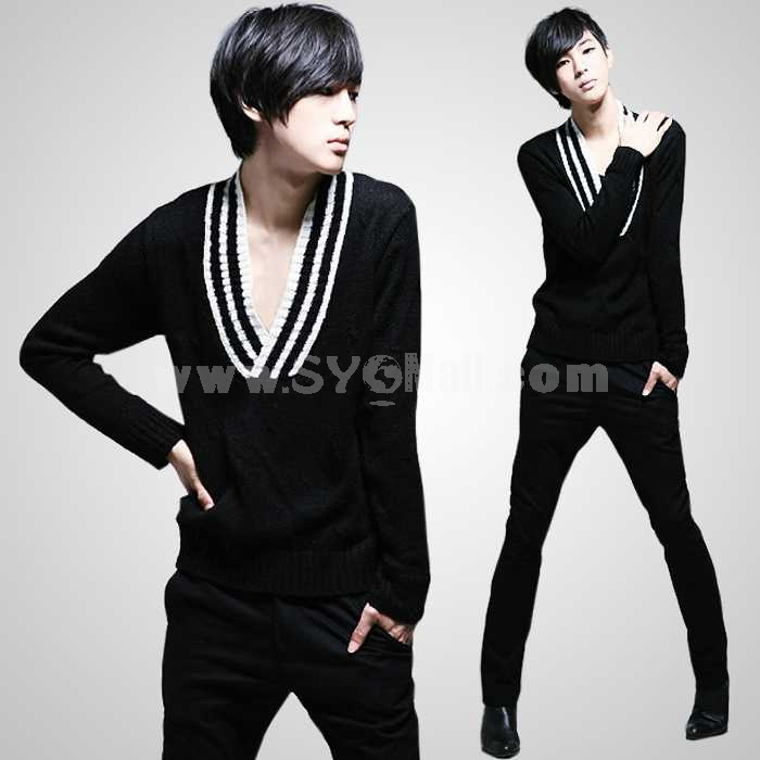 Fashionable Trendy Wide V-Neck Design Thin Bottoming Knitwear (1515-M106)
