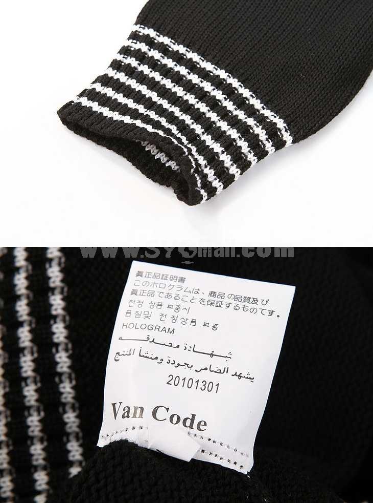 100% Cotton Casual Round-Neck Black Knitwear with Stripe Neckline/Hem (1515-M120)