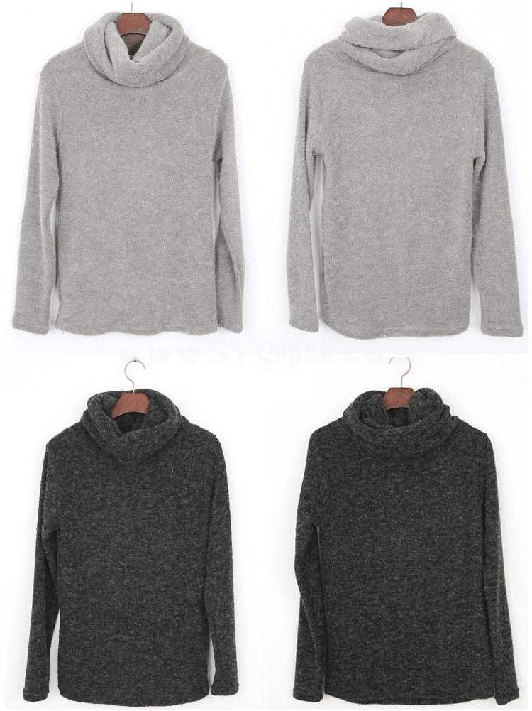 California Rabbit Plush Turtle-Neck Pure Color Bottoming Knitwear (10-209-6391)