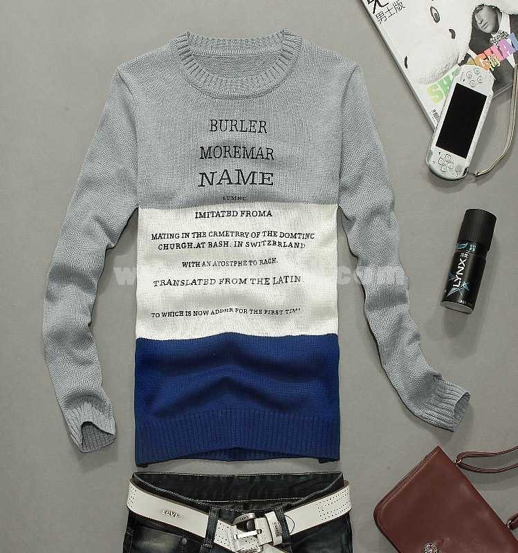 100% Cotton Tricolor Round-Neck Sweater (1402-M30)