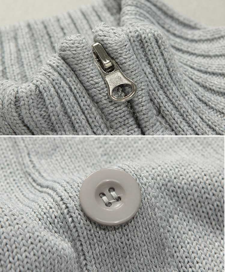 Fashionable Pure Color Stand-Color Knitting Cardigan (1402-M07)