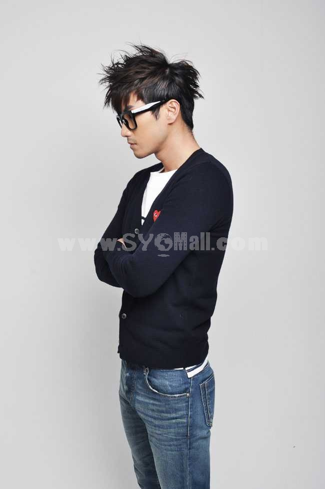 Trendy Dark Blue Knitting Cardigan with Red Heart-Shaped Badge (8-1018-Y08)