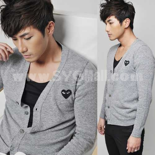Trendy Grey Knitting Cardigan with Black Heart-Shaped Badge (8-1018-Y07)