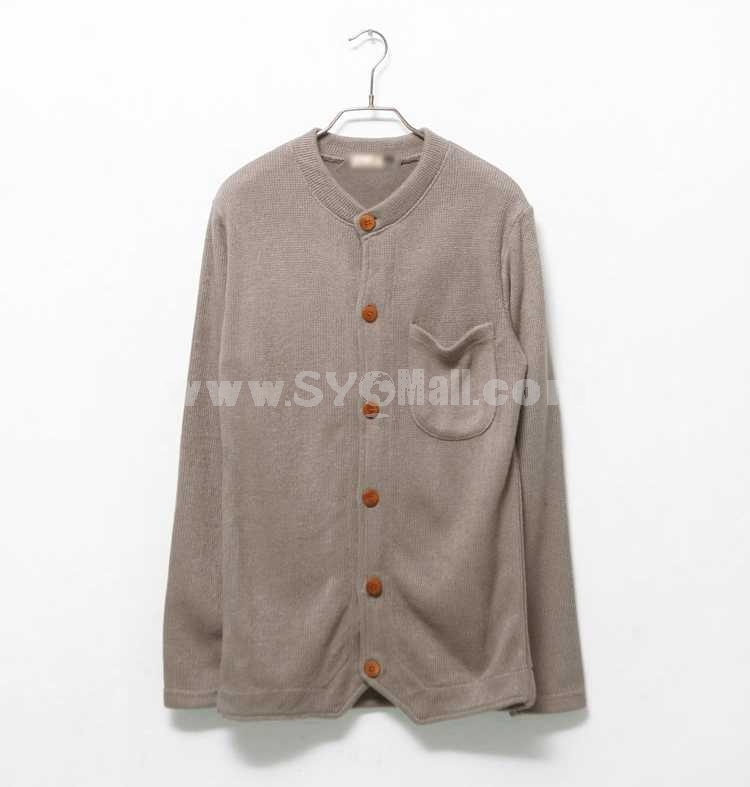 Unique Round-Neck Design Pure Color Knitting Cardigan with Pocket(3-917-B20)