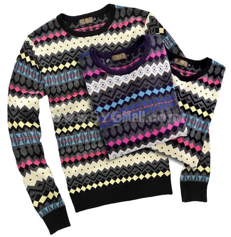 100% Cotton Fashionable All-Match Colored Round-Neck Sweater (12-210A-F02)
