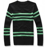 Wholesale - Delicately Designed Black Round-Neck Knitwear with green Stripes (9-1403-YJ224)