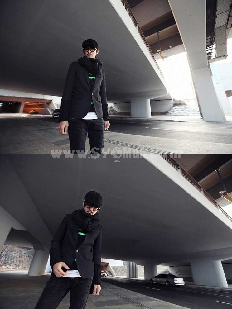 Delicately Designed Black Round-Neck Knitwear with green Stripes (9-1403-YJ224)