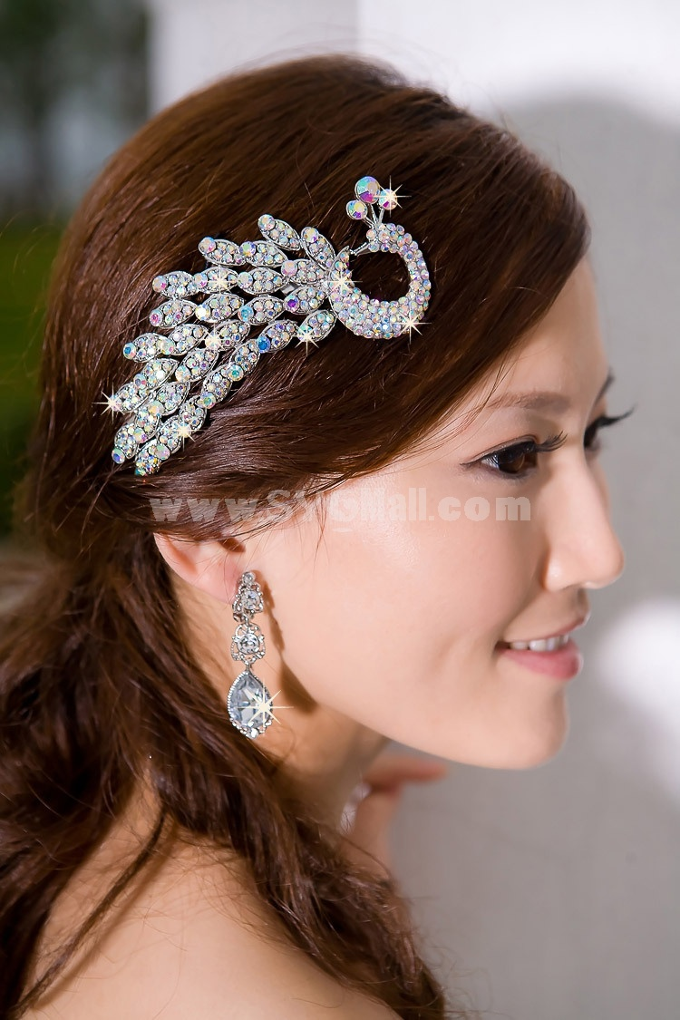 Shiny Classic Phoenix Pattern Rhinestone Bridal Tiara