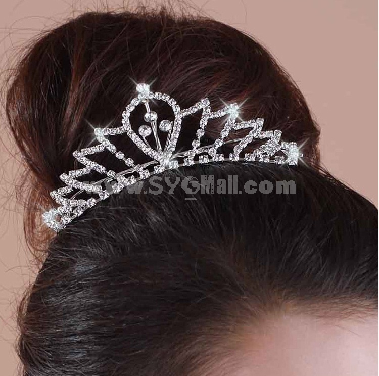 Shiny Rhinestone Bridal Tiara 05