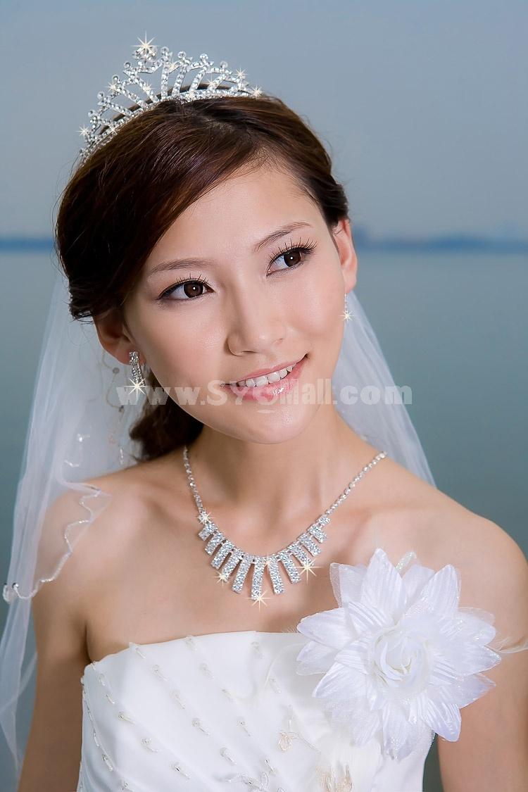 Crown Pattern Shiny Alloy Rhinestone Bridal Tiara 13