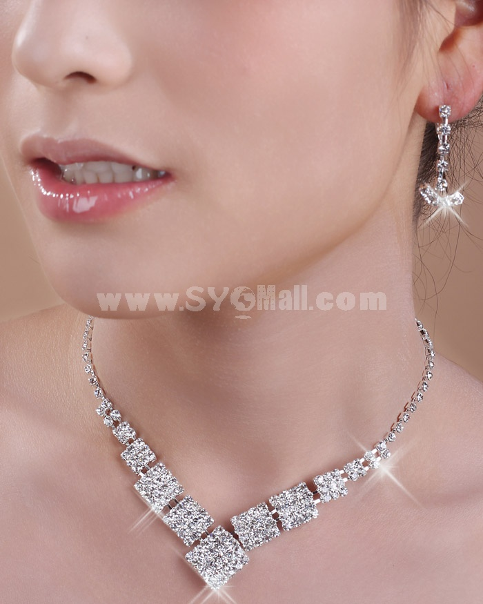 Shiny Square Design Alloy with Rhinestone Women's Jewelry Set Including Necklace, Earrings