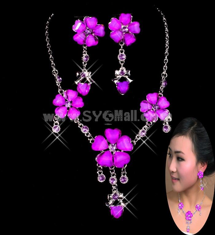 Sky Flora Pattern Shiny Design Women's Jewelry Set Including Necklace, Earrings