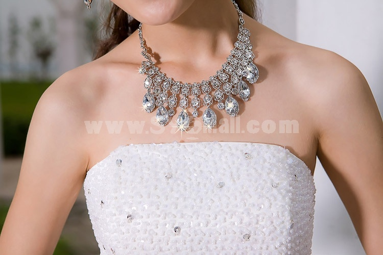 Exaggerate Shiny Design Alloy & Rhinestone Women's Jewelry Set Including Necklace, Earrings 31