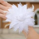 Wholesale - White Gorgeous Tulle/ Polyester Wedding Bridal Flower/ Corsage/ Headpiece 01