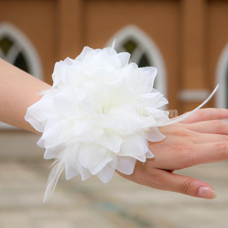White Gorgeous Tulle/ Polyester Wedding Bridal Flower/ Corsage/ Headpiece 02